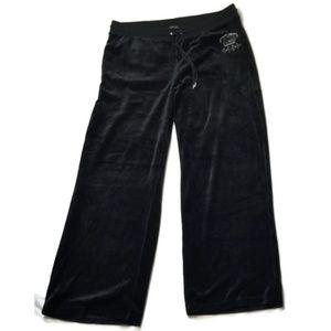 BCBGMaxazria black velour embellished track pants